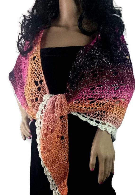 Outlander Sunset Shawl- Lace Ombre, Purple Pink Orange Wrap Winter accessories Diana Gabaldon Crochet Knit FREE SHIPPING SH10