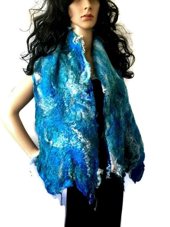Outlander Claire's Bluebell Art Scarf #2 - OOAK Felt Silk Cobweb Felt Gabaldron Shawl Wrap Stole