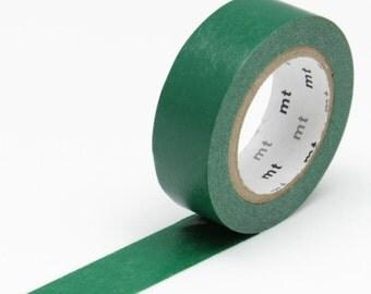 MT Peacock Green Washi Tape - Japanese Kamoi Masking Tape -  basic solid royal deep dark green washi tape single colour