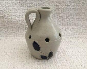 Williamsburg Pottery Jug Frog Vase, Salt Glaze Pottery, Cobalt Blue Flowers, Handled Pottery Jug, Jug with Holes in Sides, Flower Frog Jug