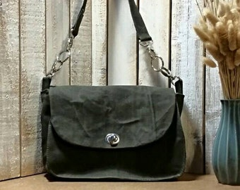 Best Seller Waxed Canvas Retro Inspired Shoulder Bag Shown in Military Olive