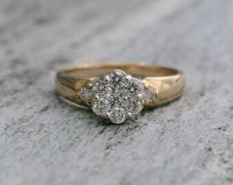 14K Vintage Diamond Cluster Flower Ring