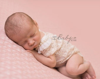 Newborn Lace Romper Photography Prop Chiffon Pearl Lace detail  Elegant Timeless Soft Mocha & Ivory Baby Girl Vintage