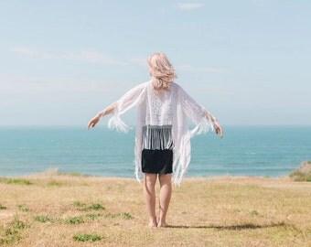 Silk Bridal Kimono - Silk Wedding Kimono - Silk Bridal Shawl - Wrap For Wedding Dress - Kimono For Beach Wedding - Kimono Robe For Bride