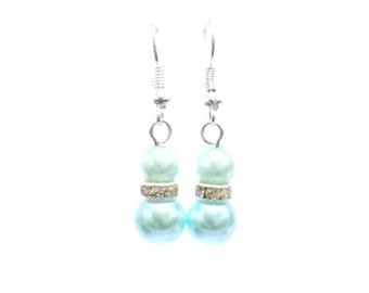 green pearl earrings , double pearl earrings, earrings , bridal earrings , green earrings , fashion earrings , fashion jewelry
