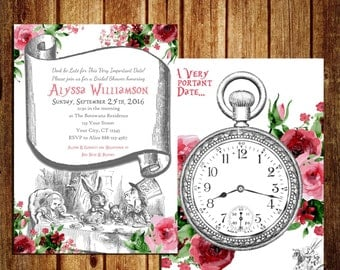 Alice in Wonderland themed Invitation for Bridal Shower - Alice in Wonderland Bridal Shower - Tea Party Invitation - Digital - Printable