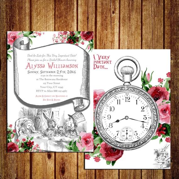 Alice in Wonderland themed Invitation for Bridal Shower