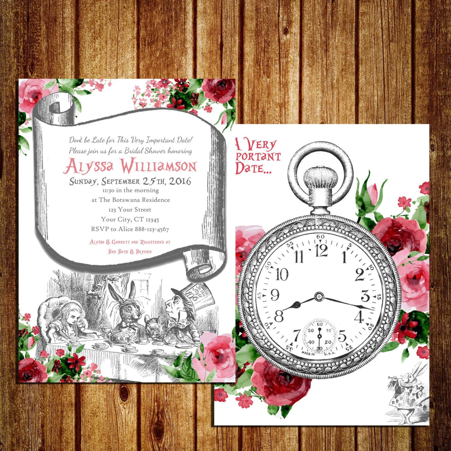Alice In Wonderland Themed Invitation For Bridal Shower