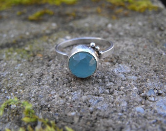 Aqua Chalcedony Ring Sterling Silver Blue Chalcedony Ring Aqua Chalcedony Stacking Ring