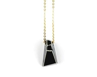 Black Geometric Necklace 2 // Geometric Jewelry, Geometric Jewellery, Geo Jewelry, Geometry, Clay Necklace, Clay Jewelry, Southampton
