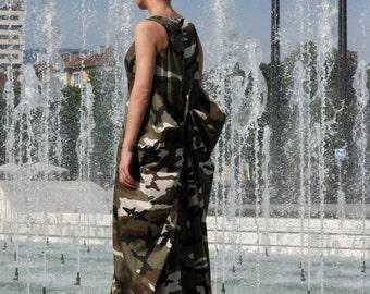 Summer Dress, Military Dress, Maxi Dress, Kaftan Dress, Long Dress, Cotton Dress, Camouflage Dress, Boho Dress by CARAMELfs D11316