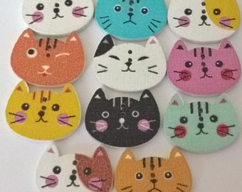 Set Of 20 Cat Wooden Painted Buttons