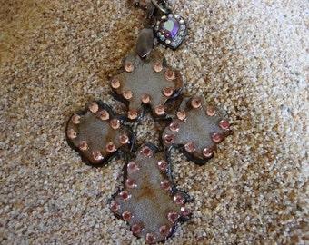 Rhinestone  Iron Cross with Vintage AB Heart Pendant