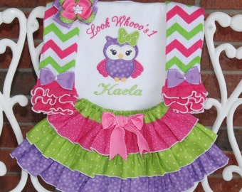 4 pc Owl Birthday Outfit! Girls owl outfit! Pink, purple and green owl birthday outfit with applique top, ruffle skirt, leg warmers and bow!