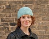 Knit women's beanie, Light blue hat, Winter baby blue hat, Wool winter beanie