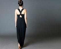 Harem Jumpsuit, Summer Dress, Black Maxi Dress, Low Crotch Jumpsuit, Overall, Unique Design  MO111