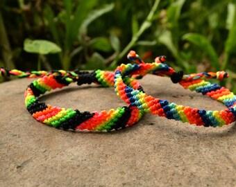 Set of 2 Neon Braided Friendship Bracelets, Hand-Made Bracelet, Rainbow Bracelet, Bracelet Set, Summer Gift, Christmas Gift, Stocking Filler