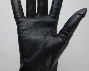 1960s gloves Fownes buttery soft black leather shortie gloves rocker grunge punk 90s minimalist size 7.5 cosplay fetish skintight leather