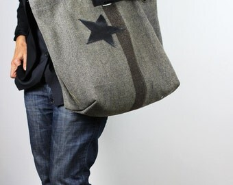 Gray Tote Bag Upcycled Vintage Military Fabric and Leather/Gray & Black Large Fabric Tote Bag/Oversized Urban Style Carry All – ThraceK8
