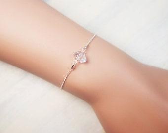 Herkimer Bracelet, Crystal Beaded Bracelet, Boho Bracelet, Small Bracelet, Dainty Bracelet, Clear Bracelet
