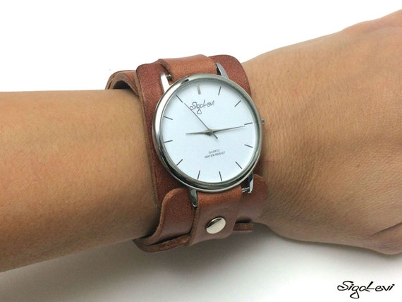 woman watch in brown leather women by sigallevileather on etsy