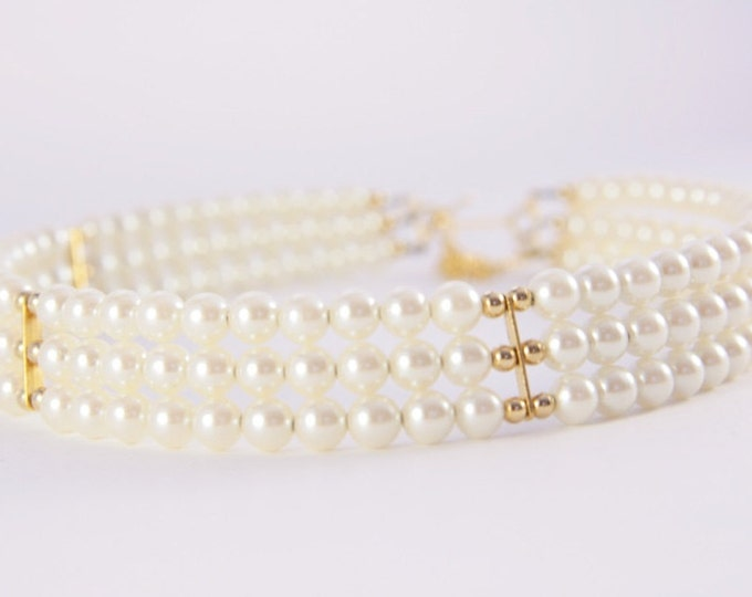 Pearl Choker Necklace Around Neck Three Strand Gold Beads Firm Solid Wedding Necklace