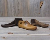 SET of 3 Cobbler Shoes, Wood and Cast Iron, Country Decor, Old Wood Shoe, Metal Paperweight, Door Stop, Rustic Home Decor, Bookends #17-56