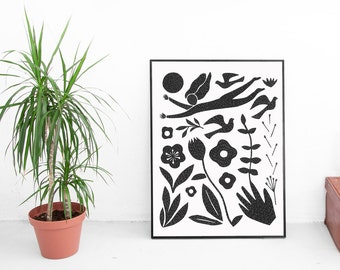 Folk art print, black and white art print, mixed media art, large poster, scandinavian art, folk art, bird print, floral print, nature print