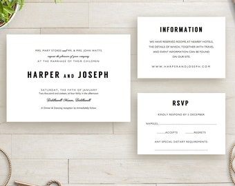 Modern Wedding Invitation RSVP and Info Template printable | Harper Invitation Template | Minimalist Wedding | DIY wedding invitation.