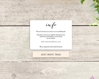 printable information card template instant download info details card printable sweet bomb wedding diy