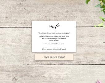 Wedding info card | Etsy