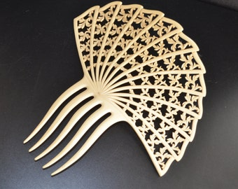 French IVORY Celluloid Ivorine ANTIQUE Hair COMB Open Framework Large Hair Accessory Wedding Bridal Hair Comb