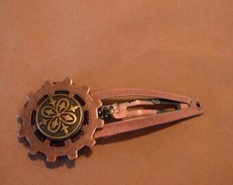 steampunk gear snap hair clip