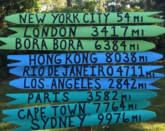 5 PACK Mileage Signs- Tropical Water Collection