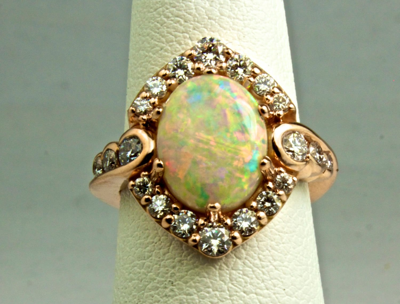 Opal & Diamond Halo Ring Wedding Band set 14K 10K Solid