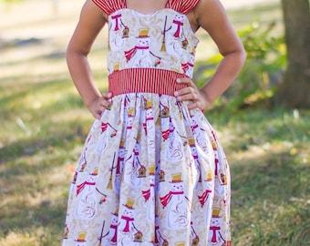 Girls Christmas Dress - Girls Snowman Dress - Girls Holiday Dress - Christmas Dress - Girls Gold Dress - Girls Party Dress - Snowman Dress