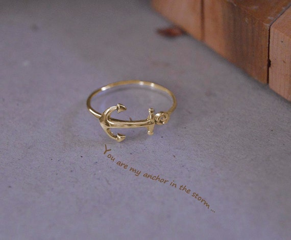 anchor ring 10 k solid gold anchor midi by gvantsasfinedesigns
