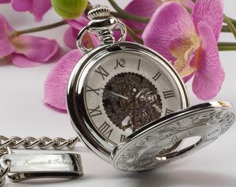 FREE WORLDWIDE SHIPPING - Custom Glass Engraved Silver Half Hunter Skeleton Pocket Watch - Gift Boxed pw-1-G