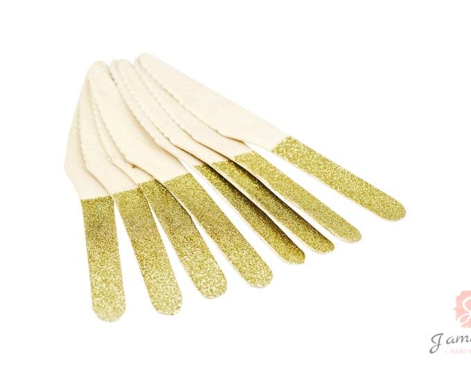 Gold Glitter Wooden Knife 8pc, Gold Glitter Silverware, Gold Glitter Wooden Utensils, Glitter Party, Wood Utensil, Glitter Knife