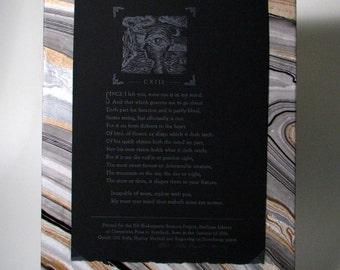 Poetry Broadside, Sonnet 113 by Shakespeare, Letterpress Print