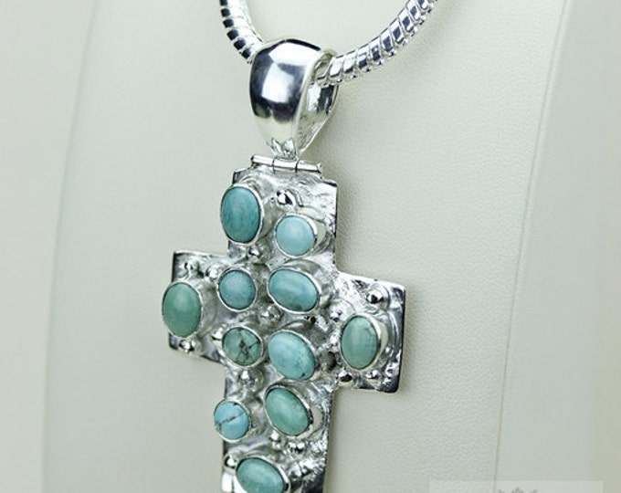 Tibetan TURQUOISE CROSS 925 S0LID Sterling Silver Pendant + 4MM Snake Chain & Free Worldwide Shipping P3483