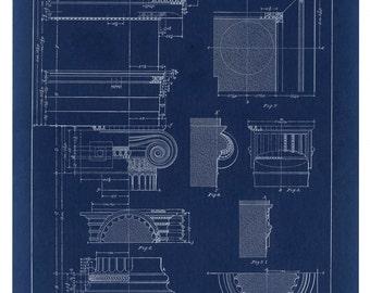 Blueprint Wall Art Corinthian Column Drawing Blueprint Wall
