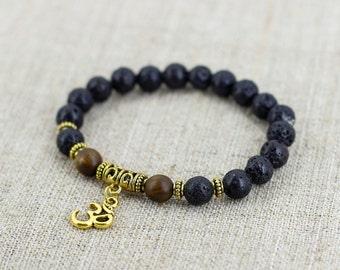 Mala bracelet Ohm bracelet Meditation bracelet Lava bracelet for boyfriend birthday gift for men jewelry Gift for her birthday gift women