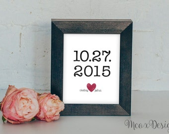 Wedding Date Art Custom Wedding Date Art Print // Custom Anniversary Date Print Art Gift // Printable & Customizable