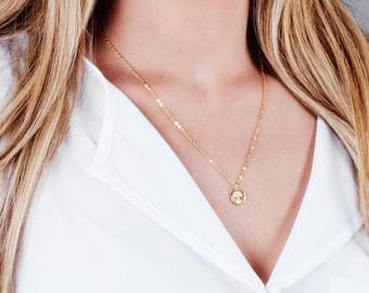 Dainty Gold Necklace, Tiny Tree Of Life Necklace, Tree Necklace, Gold Minimalist Necklace, Disc Necklace, Coin Necklace, Family  Necklace