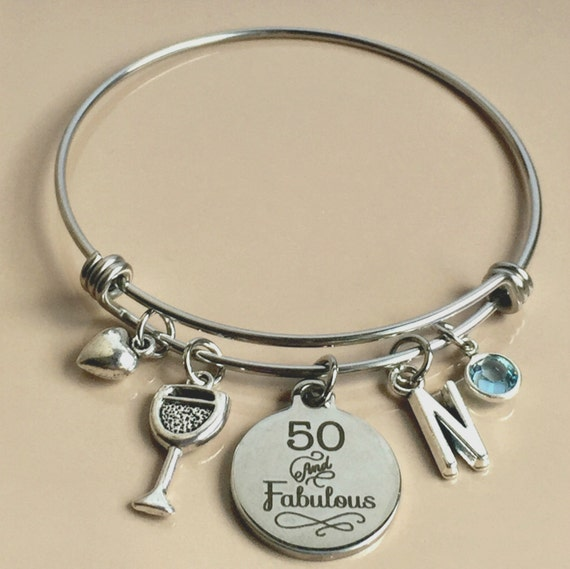 50 And Fabulous 50th Birthday Bracelet 50th Charm Bangle
