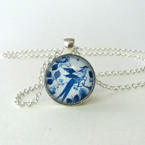 bluebird in silver pendant delft blue by velvetheartvintage