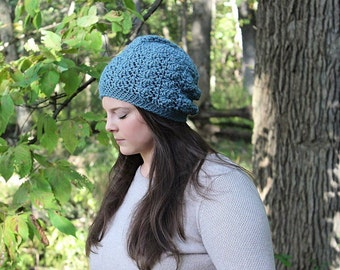 Blue Slouchy Hat, Blue Slouchy Beanie, Blue Beanie, Blue Hat, Blue Winter Hat, Blue Crochet Hat, Blue Women's Hat, Crochet Hat, THE SIERRA