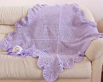 Crochet baby blanket lavender Newborn baby girl shower gift Handmade baby afghan purple New baby girl photo prop violet nursery bedding