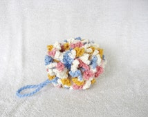 Blue Pink Gold Crochet Pouf Bath Pouf Bath Sponge Bath Scrubbie Cotton Pouf Shower Loofah Shower Puff